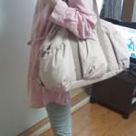 ルカルカ エアリー ギャザーポケット 2wayマザーズバッグ ピンクベージュ