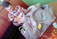 産後初めての家族一緒の外食 ルカルカ ピクニックトート マザーズバッグ Lグレー