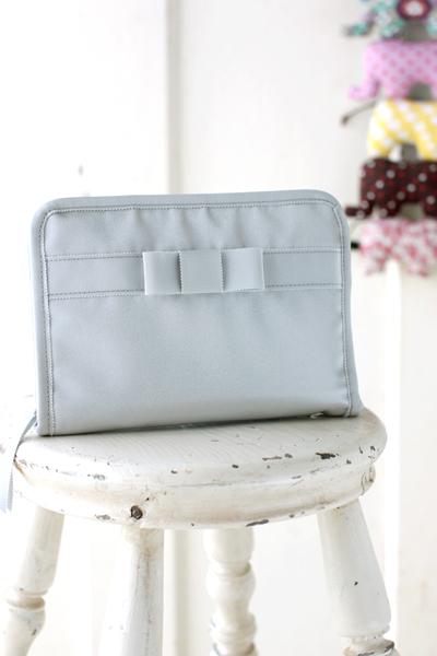 母子手帳ケース リボン シルバー ナイロン 日本製