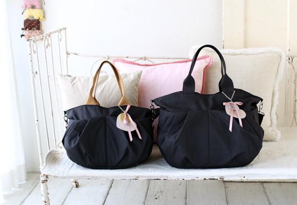 ルカルカ エアリーコレクション リュクス 2way マザーズバッグ ブラック×ゴールド LサイズとMサイズ