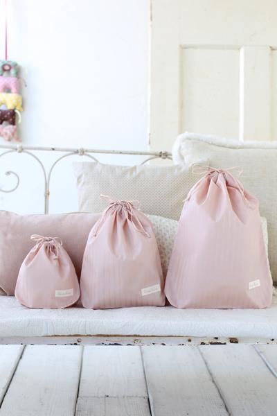 ベビー服など入れる巾着袋セット (大、中、小)ピンク