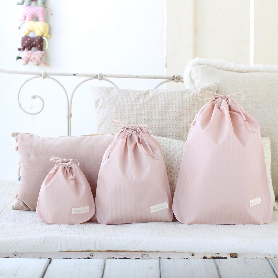 ベビー服やスタイなど、小分けに持ち運べる、大人可愛いマルチ巾着袋(大、中、小)3枚セット ピンク