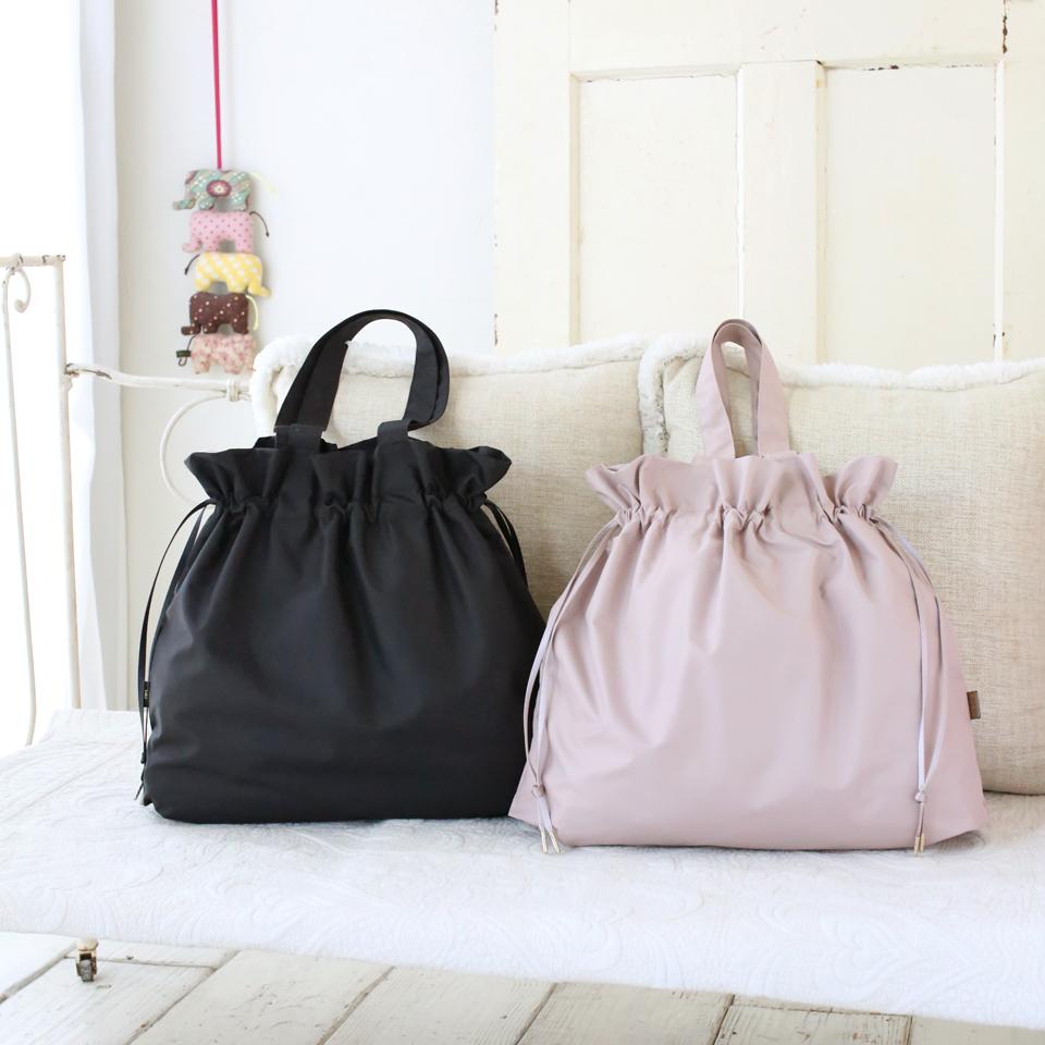 キレイめに合う小さくたためる上質なエコバッグ、服装に合わせやすい2カラー展開